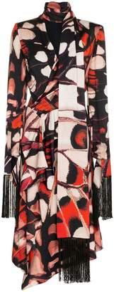 Alexander McQueen fringed long-sleeve midi dress