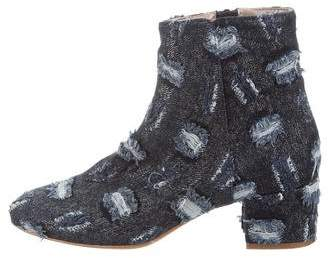 AGL Distressed Denim Ankle Boots