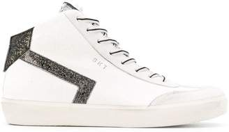 Leather Crown glitter detail low top sneakers