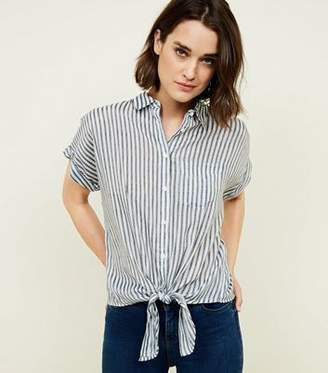 New Look Blue Stripe Tie Front Rolled Sleeve Shirt