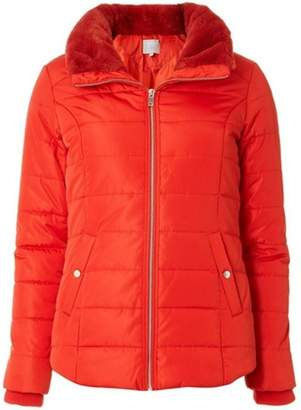 Dorothy Perkins Womens Petite Red Faux Fur Collar Puffer Jacket