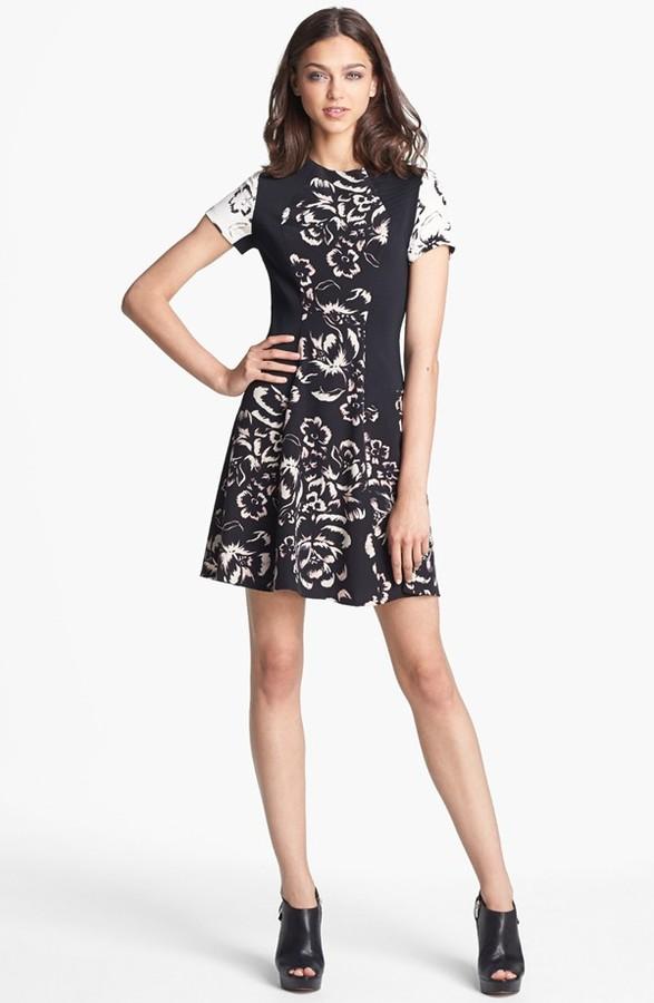 'Artisanal Blocked' Print Silk A-Line Dress