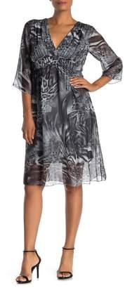 Lola Made In Italy V-Neck Empire Waist Animal Print Dress