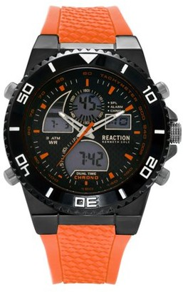 Kenneth Cole Reaction Men's Rose Gold Case Black Dial Black Silicone Strap Watch