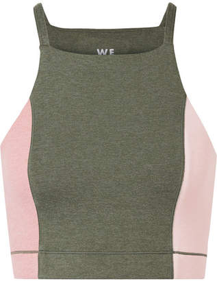 We/Me Wip Cropped Color-block Stretch-jersey Top
