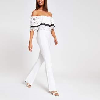 River Island Womens White lace bardot jumpsuit
