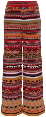 Etro jacquard alpaca wool-blend wide leg trousers