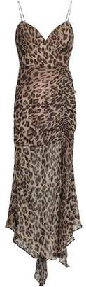 Nicholas Ruched Leopard-print Silk Midi Dress