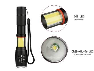 Equipment OUYAWEI Telescopic Focusing Magnet Design COB + T6 Dual Purpose High Light Flashlight