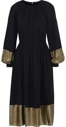 Derek Lam Ribbed Lame-paneled Pleated Silk-blend Crepe Midi Dress