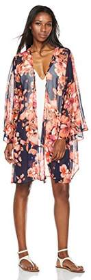 Beautiful Nomad Women's Beach Cover up Kimono Cardigan Blouse with Floral Print Chiffon