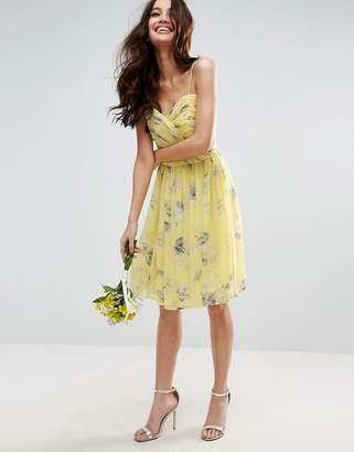 Asos Design Bridesmaid Ruched Mini Dress In Sunshine Floral Print