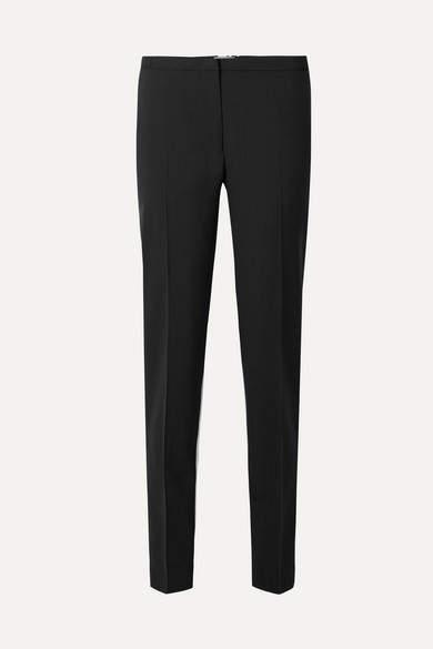 Prada - Silk-paneled Wool-crepe Tapered Pants - Black