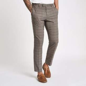 River Island Mens Brown check skinny fit suit pants