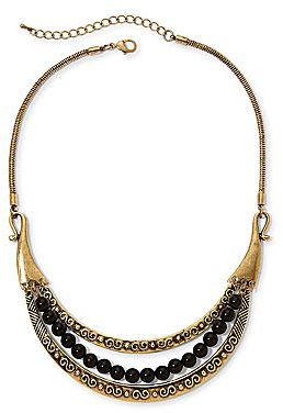 JCPenney Aris by Treska Gold-Tone & Black Bead Bib Necklace