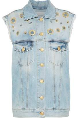 Pierre Balmain Eyelet-Embellished Distressed Denim Vest