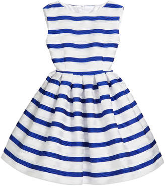 Helena Horizontal Stripe Organza Pleated Dress Size 2-6