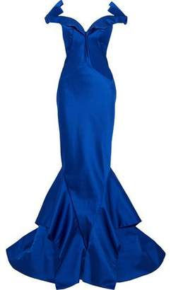 Zac Posen Off-The-Shoulder Bow-Detailed Ruffled Duchesse Satin Gown