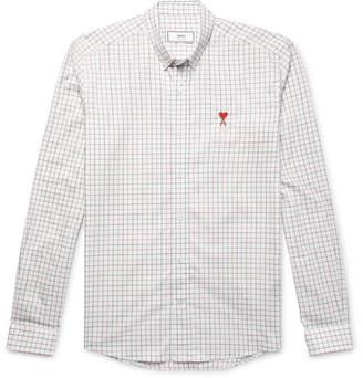 Ami Button-Down Collar Checked Cotton-Poplin Shirt