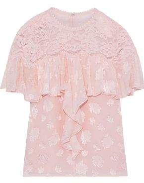 Rebecca Taylor Corded Lace-paneled Ruffled Fil Coupe Silk-blend Blouse