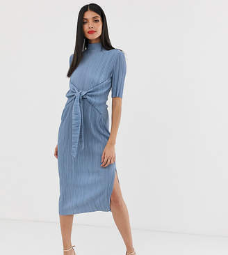 Asos Tall DESIGN Tall exclusive knot front plisse midi dress