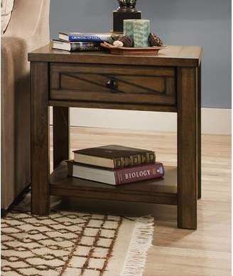 Gracie Oaks Dorcey Rustic End Table with Storage by Simmons Casegoods