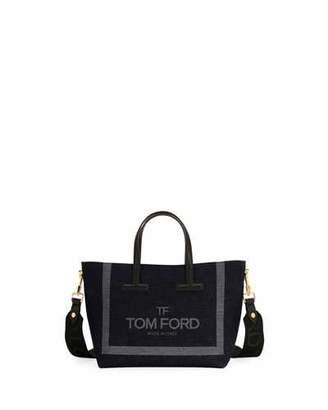 Tom Ford T Tote Mini Denim Logo Crossbody Bag