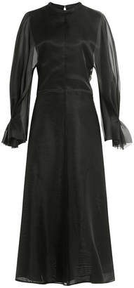 Emilia Wickstead Silk Satin Dress with Chiffon Sleeves