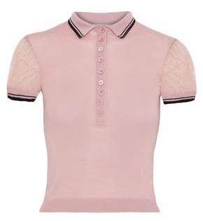 RED Valentino Point D'esprit-Paneled Wool Silk And Cashmere-Blend Polo Shirt