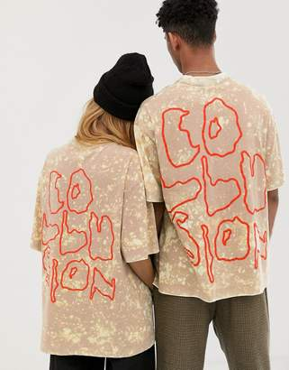 c47e1f2532 BEIGE Collusion COLLUSION Unisex tie dye t-shirt with back print in