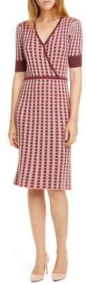Kate Spade Faux Wrap Plaid Sweater Dress
