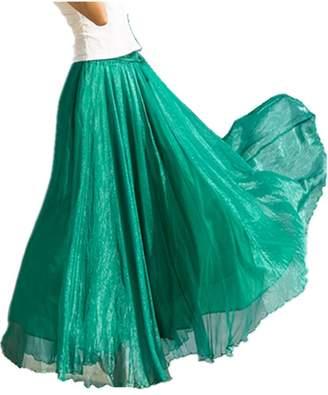 Emoyi Women Soft Vintage Bohemian Chiffon Maxi Bouffancy Long Skirt Beach Dress (M, )