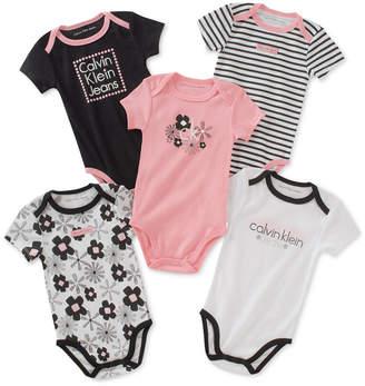 Calvin Klein 5-Pack Graphic-Print Bodysuits, Baby Girls