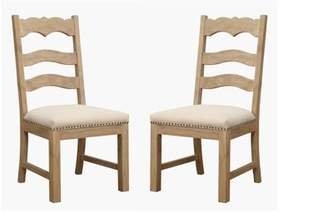BEIGE Emerald Home Barcelona Rustic Pine and Dining Chair with Upholstered Seat, Ladder Back, And Nailhead Trim, Set of Two
