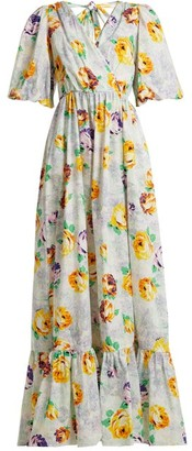 MSGM Floral Print Cotton Dress - Womens - White Multi