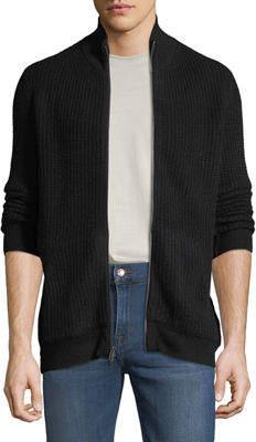Neiman Marcus Men's Cashmere Mock-Neck Zip Front Jacket