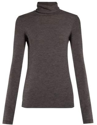 The Row Margit Roll Neck Stretch Cashmere Top - Womens - Dark Grey