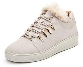 Taryn Rose Georgy Suede Low-Top Sneakers with Faux Fur