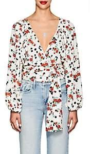 A.L.C. Women's Carla Floral Silk Tie-Front Blouse - White