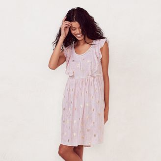 Women's LC Lauren Conrad Print Eyelet Babydoll Dress $64 thestylecure.com