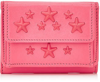 Jimmy Choo NEMO Flamingo Leather Small Wallet with Enamel Stars
