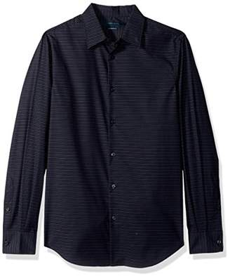 Perry Ellis Men's Long Sleeve Horizontal Multi-Color Stripe Shirt
