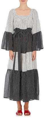 Lisa Marie Fernandez Women's Colorblocked Polka Dot Cotton Peasant Maxi Dress $825 thestylecure.com