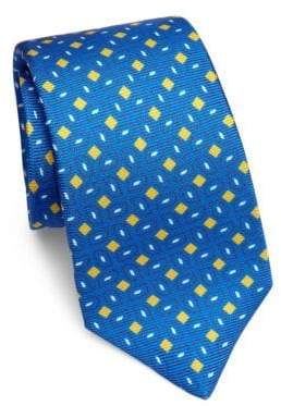 Kiton Geometric Patterned Silk Tie