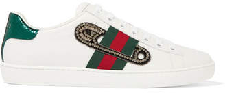 Gucci Ace Watersnake-trimmed Embellished Leather Sneakers - White
