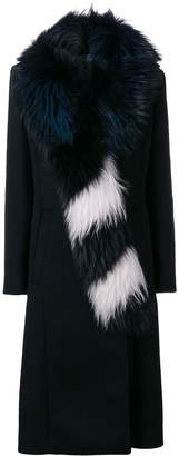 Off-White fur collar long coat