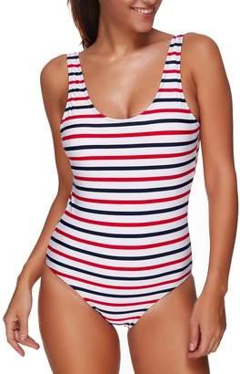 Passionate Adventure Women's Athletic Raceback Fitness Swimsuit One Piece Bathing Suit Pro Training Swimwear