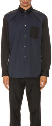Comme des Garcons Forever Forever Long Sleeve Shirt in Black & Navy | FWRD
