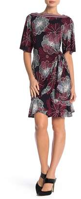 Robbie Bee Flutter Sleeve Print Dress