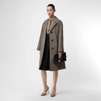 Burberry Oversized Check Wool Single-breasted Coat , Size: 06, Taupe